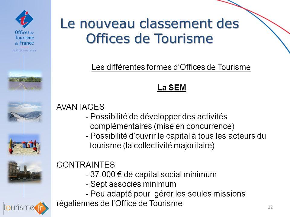 Le nouveau classement des Offices de Tourisme 22 Les différentes formes dOffices de Tourisme La SEM AVANTAGES - Possibilité de développer des activité