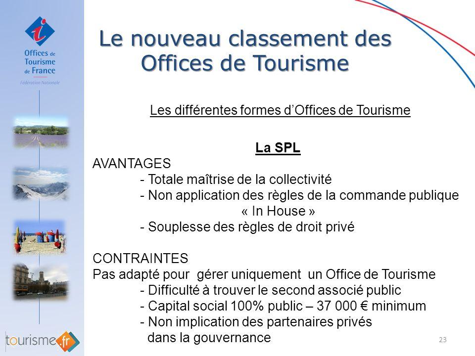 Le nouveau classement des Offices de Tourisme 23 Les différentes formes dOffices de Tourisme La SPL AVANTAGES - Totale maîtrise de la collectivité - N
