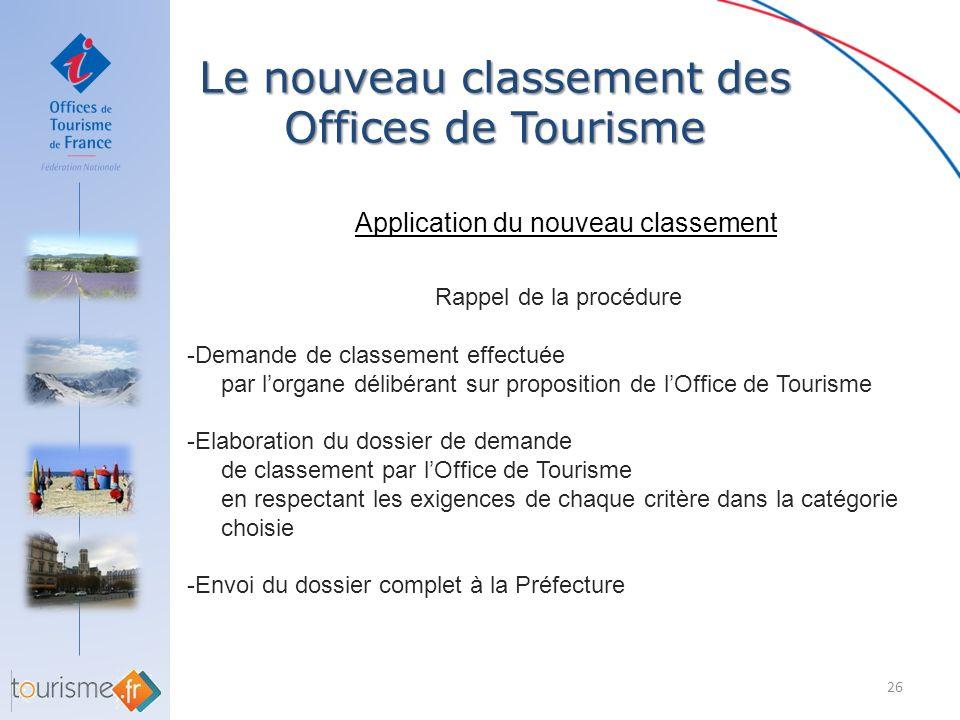 Le nouveau classement des Offices de Tourisme 26 Application du nouveau classement Rappel de la procédure -Demande de classement effectuée par lorgane
