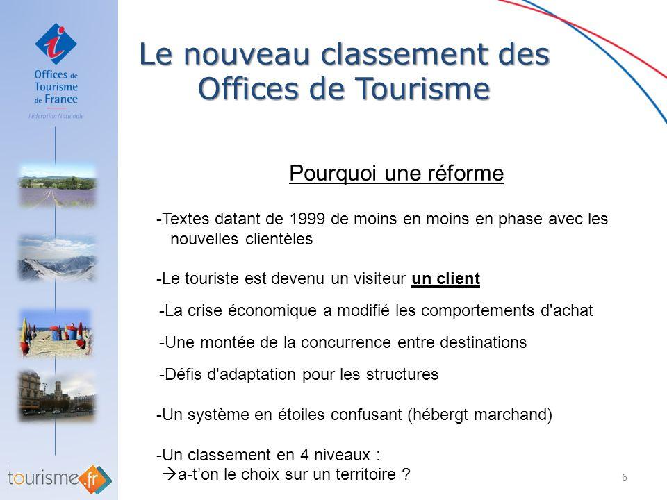 Le nouveau classement des Offices de Tourisme 7 Pourquoi une réforme Une opportunité : La Loi de développement et de modernisation des services touristiques du 22 juillet 2009 porte sur la réforme de tous les classements : -Les hébergements touristiques marchands -Les Offices de Tourisme