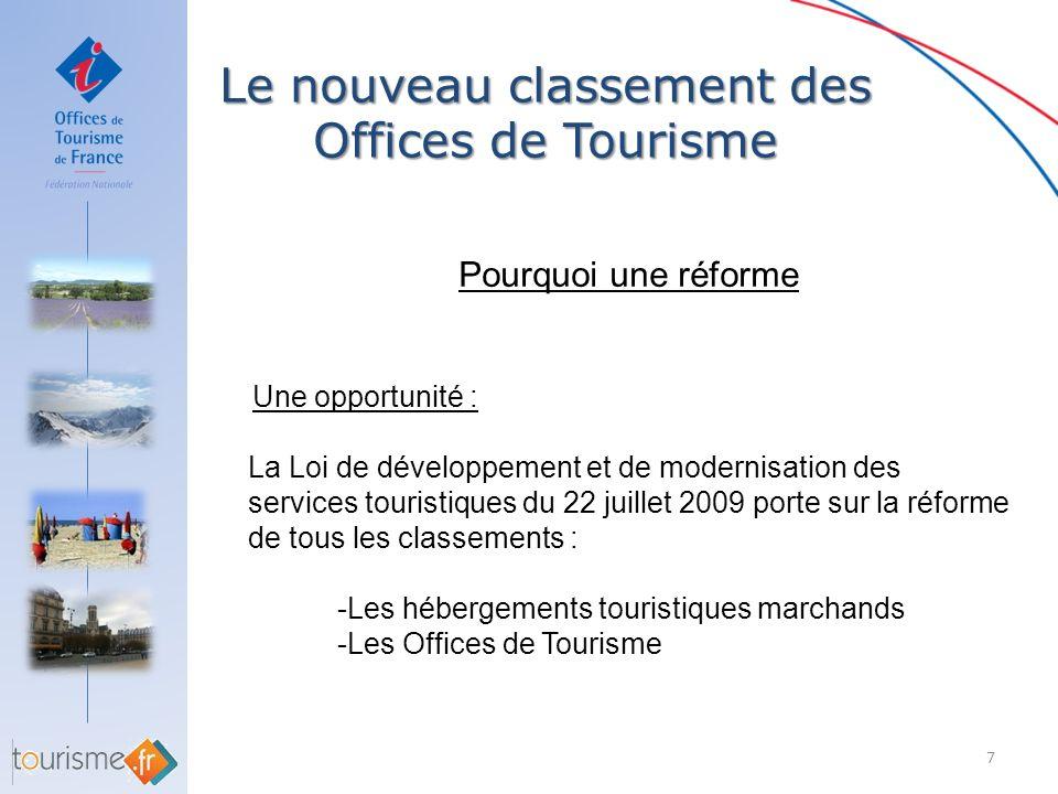 Le nouveau classement des Offices de Tourisme 7 Pourquoi une réforme Une opportunité : La Loi de développement et de modernisation des services touris