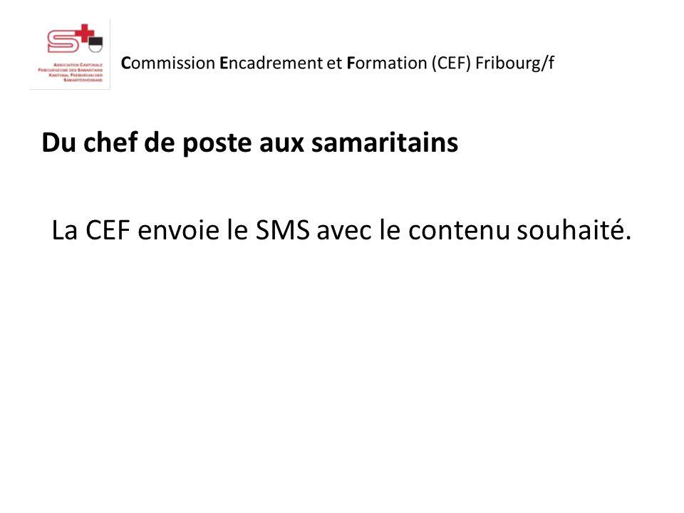 Du chef de poste aux samaritains La CEF envoie le SMS avec le contenu souhaité.