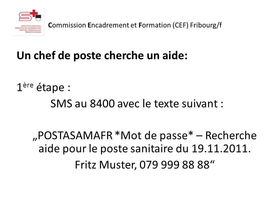 Un chef de poste cherche un aide: 1 ère étape : SMS au 8400 avec le texte suivant : POSTASAMAFR *Mot de passe* – Recherche aide pour le poste sanitaire du 19.11.2011.
