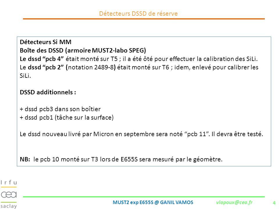 4 MUST2 exp E655S @ GANIL VAMOS vlapoux@cea.fr Détecteurs DSSD de réserve Détecteurs Si MM Boîte des DSSD (armoire MUST2-labo SPEG) Le dssd pcb 4 étai