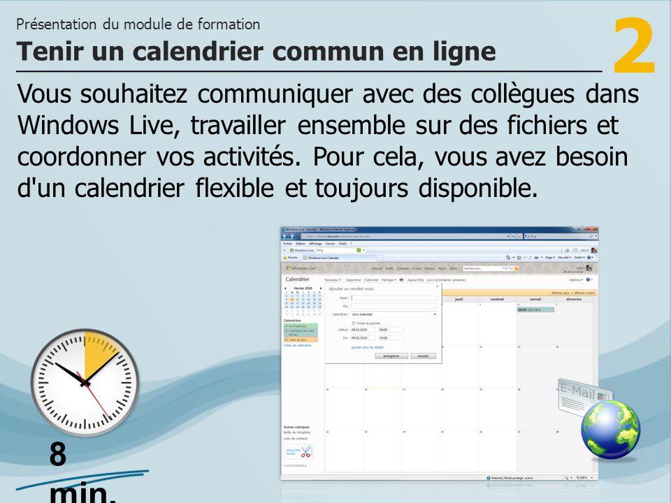 2 Vous souhaitez communiquer avec des collègues dans Windows Live, travailler ensemble sur des fichiers et coordonner vos activités.