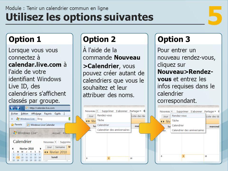 5 Option 1 Lorsque vous vous connectez à calendar.live.com à l aide de votre identifiant Windows Live ID, des calendriers s affichent classés par groupe.