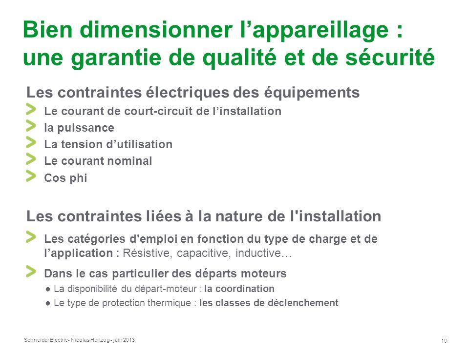 Schneider Electric 10 - Nicolas Hertzog - juin 2013 Bien dimensionner lappareillage : une garantie de qualité et de sécurité Les contraintes électriqu