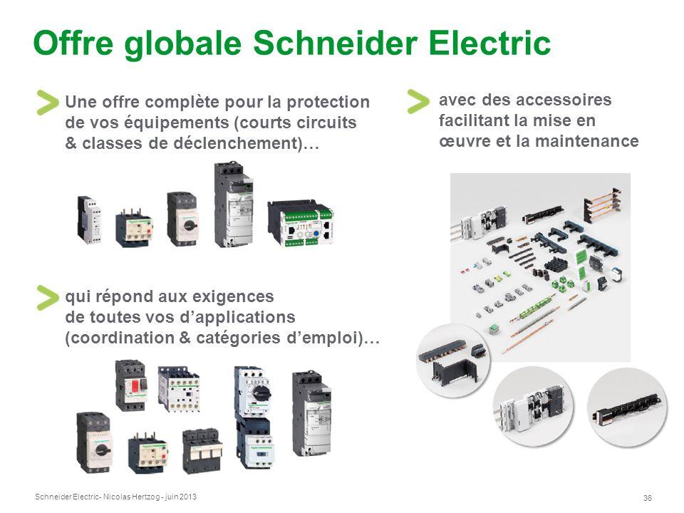 Schneider Electric 36 - Nicolas Hertzog - juin 2013 Offre globale Schneider Electric Une offre complète pour la protection de vos équipements (courts