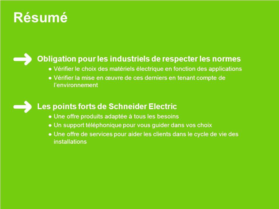 Schneider Electric 37 - Nicolas Hertzog - juin 2013 Résumé Obligation pour les industriels de respecter les normes Vérifier le choix des matériels éle
