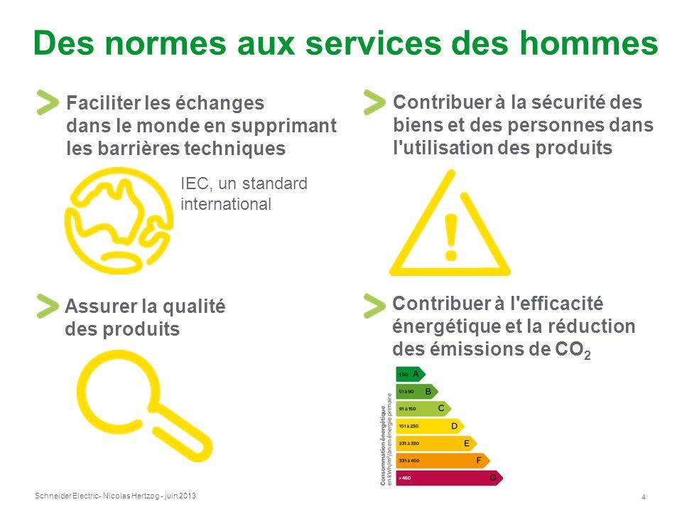 Schneider Electric 4 - Nicolas Hertzog - juin 2013 Des normes aux services des hommes Faciliter les échanges dans le monde en supprimant les barrières