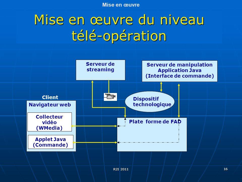 16 Mise en œuvre du niveau télé-opération Mise en œuvre Navigateur web Plate forme de FAD Collecteur vidéo (WMedia) Serveur de streaming Applet Java (