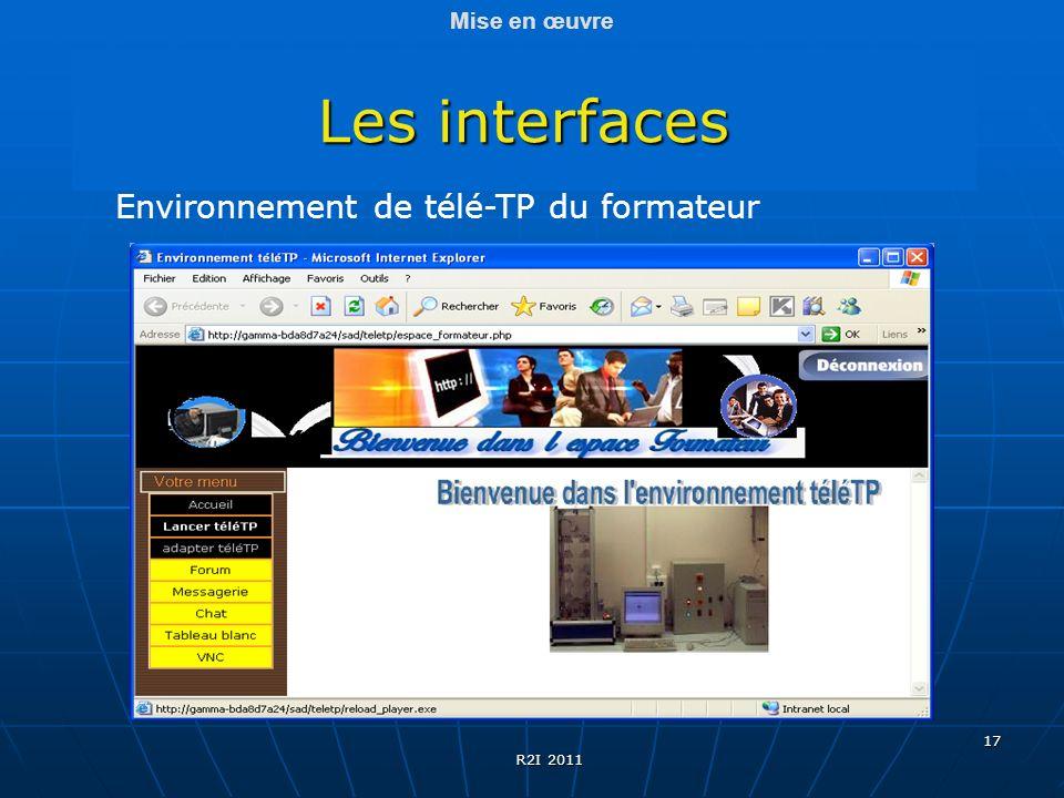17 Les interfaces Mise en œuvre Environnement de télé-TP du formateur R2I 2011