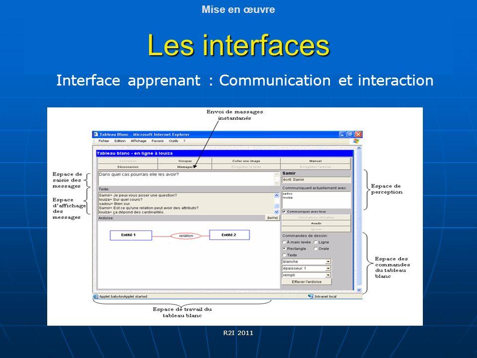 Interface apprenant : Communication et interaction Les interfaces R2I 2011 Mise en œuvre