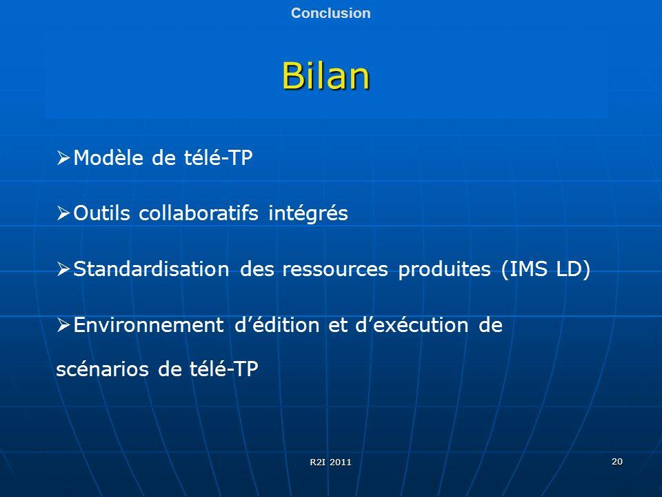 20 Bilan Conclusion Modèle de télé-TP Outils collaboratifs intégrés Standardisation des ressources produites (IMS LD) Environnement dédition et dexécu