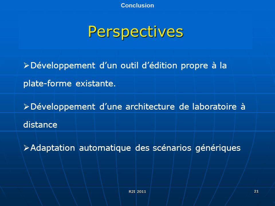 21 Perspectives Conclusion Développement dun outil dédition propre à la plate-forme existante. Développement dune architecture de laboratoire à distan