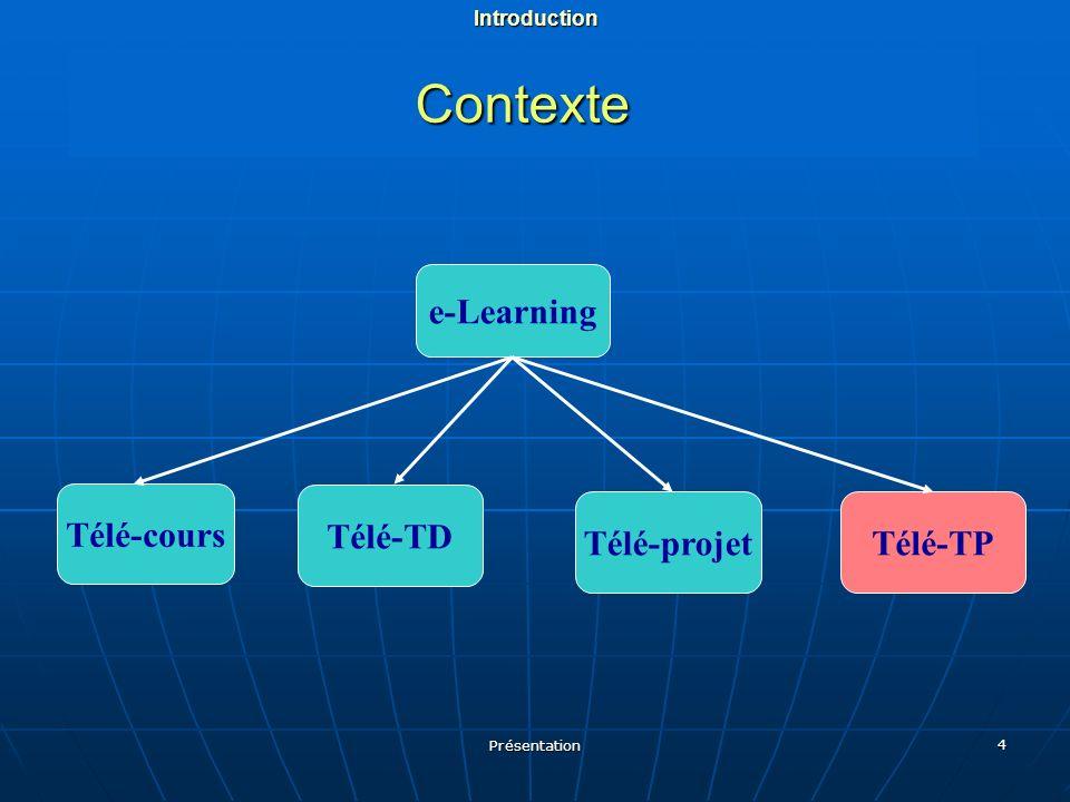 Présentation 4 Contexte e-Learning Télé-cours Télé-TD Télé-projetTélé-TPIntroduction