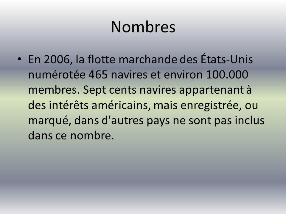 Nombres En 2006, la flotte marchande des États-Unis numérotée 465 navires et environ 100.000 membres.