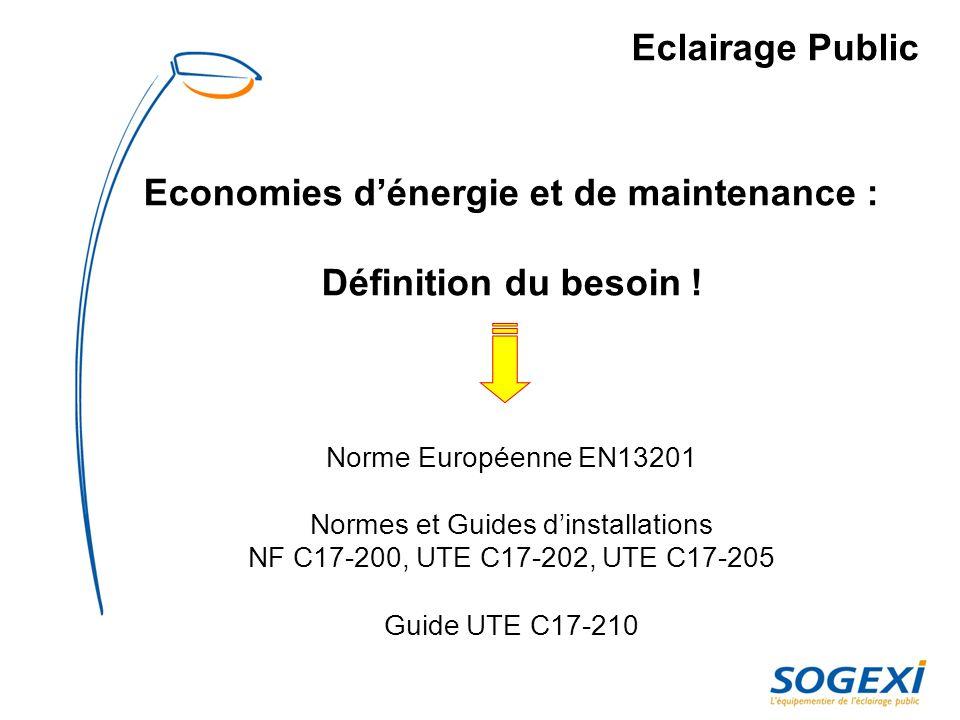 Norme EN 13201 EN 13201 Norme européenne de léclairage public La norme ne dit pas quil FAUT éclairer … … mais COMMENT éclairer lorsque la décision a été prise .