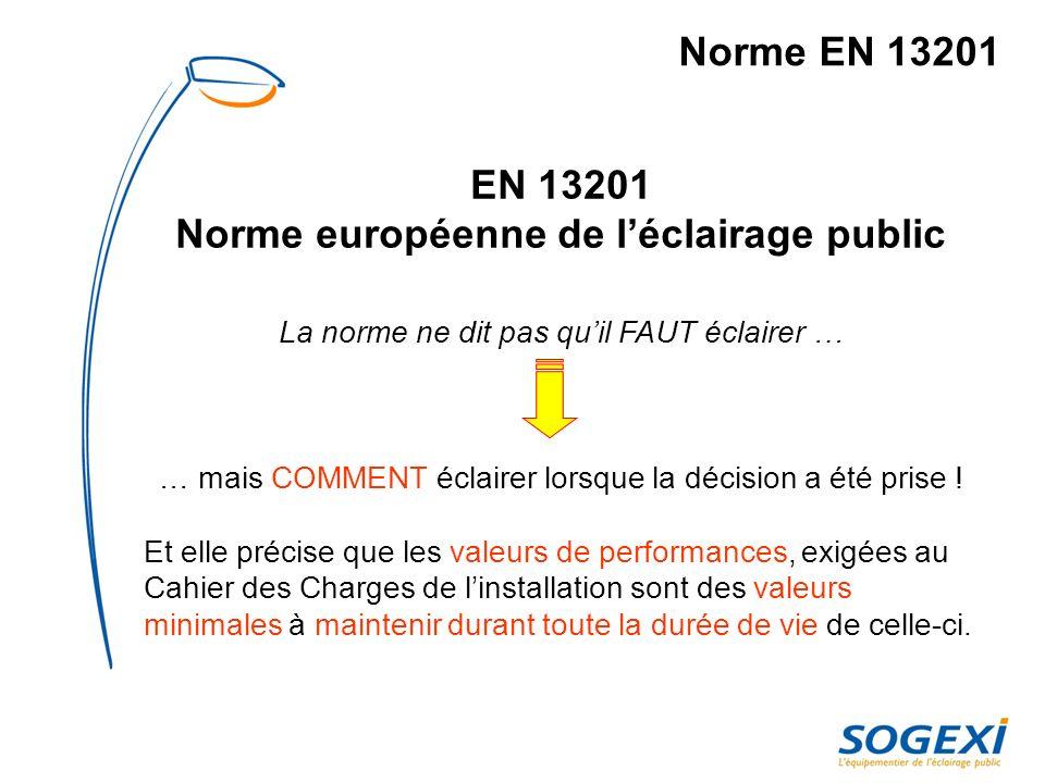 Norme EN 13201 Critères et contraintes de sélection.