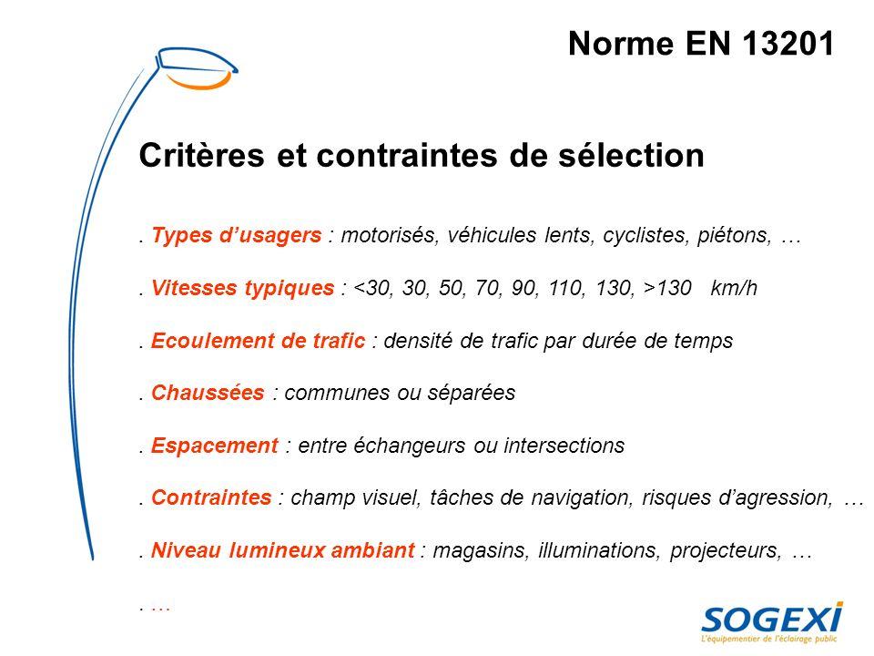 Norme EN 13201 ex : Segmentation des voies exemple de critères de la norme
