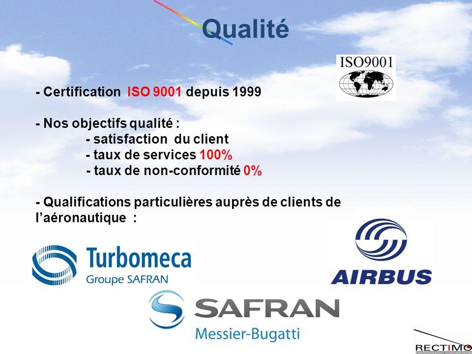 - Certification ISO 9001 depuis 1999 - Nos objectifs qualité : - satisfaction du client - taux de services 100% - taux de non-conformité 0% - Qualifications particulières auprès de clients de laéronautique : Qualité