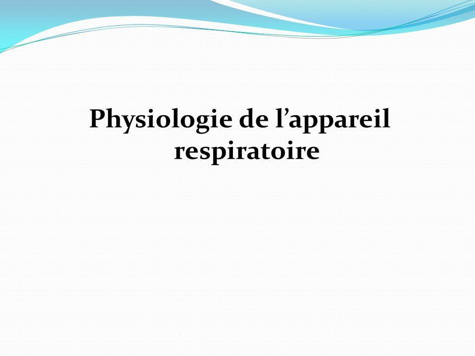 objectifs Connaitre la physiologie de l appareil respiratoire Connaitre la physiologie des échanges gazeux Connaitre la physiologie nerveuse de la fonction Respiratoire Connaitre la notion de ventilation / perfusion