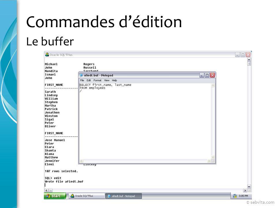 Commandes dédition Le buffer © sebvita.com