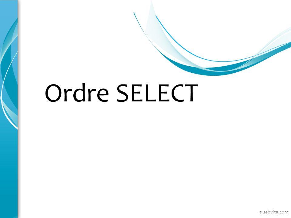 Restreindre les données Utiliser la clause WHERE SELECT employee_id, last_name, job_id, department_id FROM employees WHERE department_id = 90 ; © sebvita.com