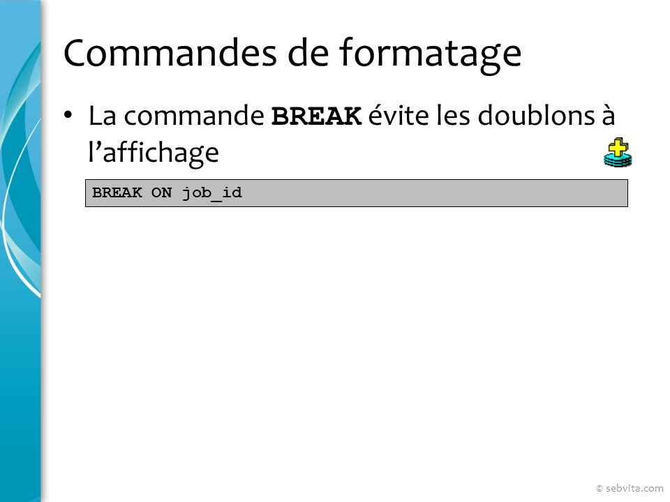 Commandes de formatage La commande BREAK évite les doublons à laffichage BREAK ON job_id © sebvita.com