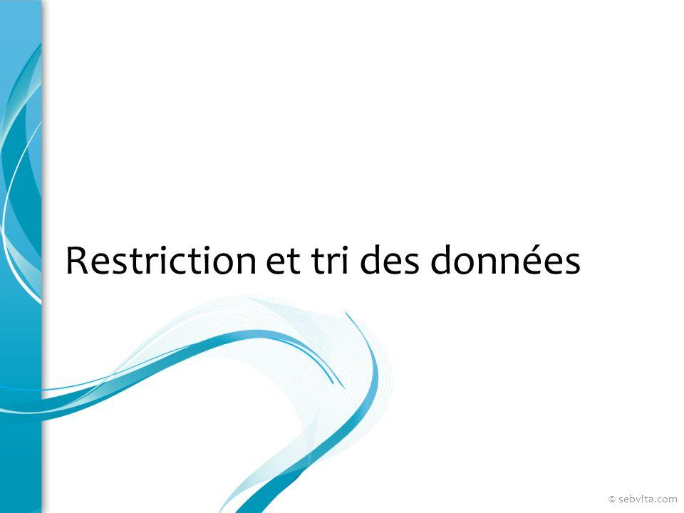 Restriction et tri des données © sebvita.com