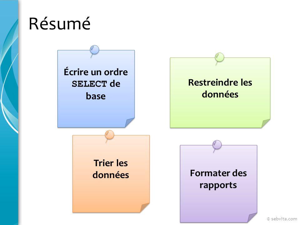 Résumé Restreindre les données Écrire un ordre SELECT de base Formater des rapports © sebvita.com Trier les données