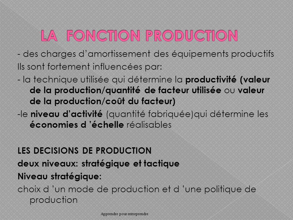 - des charges damortissement des équipements productifs Ils sont fortement influencées par: - la technique utilisée qui détermine la productivité (valeur de la production/quantité de facteur utilisée ou valeur de la production/coût du facteur) -le niveau dactivité (quantité fabriquée)qui détermine les économies d échelle réalisables LES DECISIONS DE PRODUCTION deux niveaux: stratégique et tactique Niveau stratégique: choix d un mode de production et d une politique de production Apprendre pour entreprendre