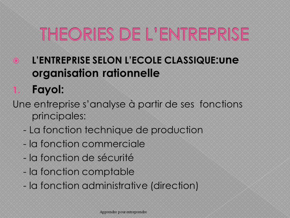 LENTREPRISE SELON LECOLE CLASSIQUE :une organisation rationnelle 1.