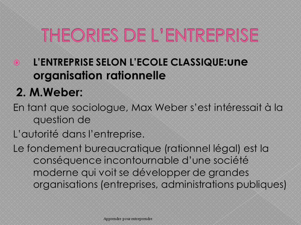 LENTREPRISE SELON LECOLE CLASSIQUE :une organisation rationnelle 2.