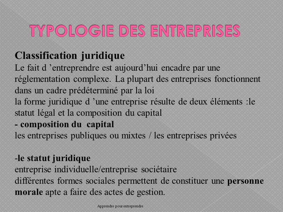 Classification juridique Le fait d entreprendre est aujourdhui encadre par une réglementation complexe.