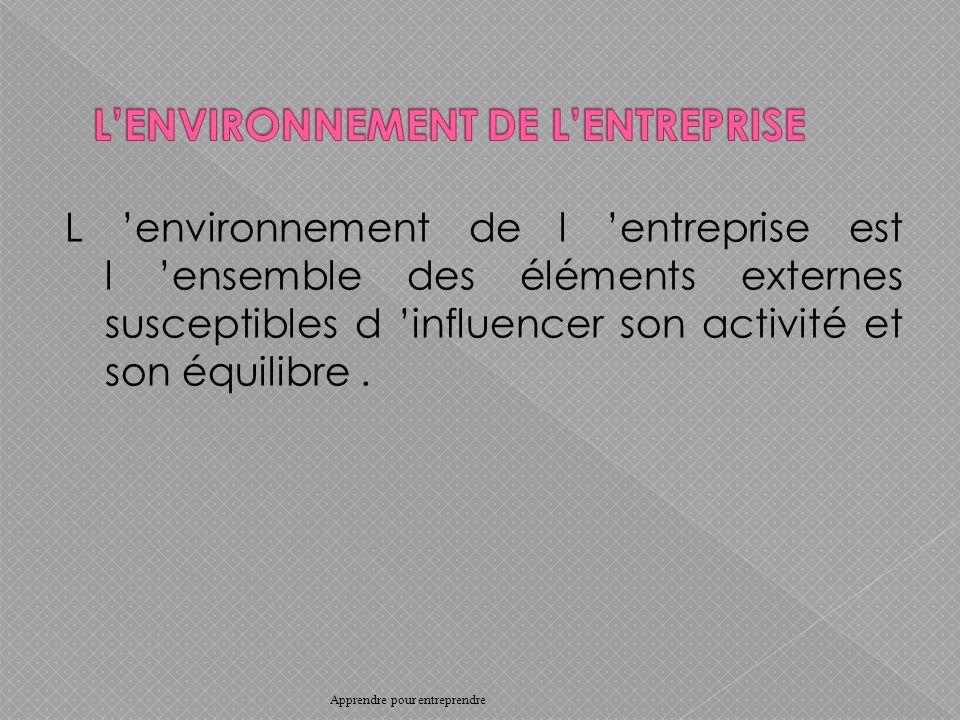 L environnement de l entreprise est l ensemble des éléments externes susceptibles d influencer son activité et son équilibre.