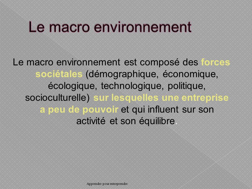 Le macro environnement est composé des forces sociétales (démographique, économique, écologique, technologique, politique, socioculturelle) sur lesquelles une entreprise a peu de pouvoir et qui influent sur son activité et son équilibre.