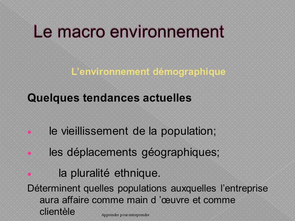Lenvironnement démographique Quelques tendances actuelles le vieillissement de la population; les déplacements géographiques; la pluralité ethnique.
