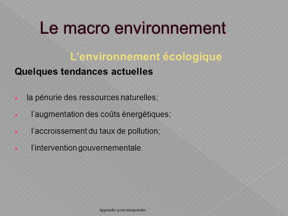 Lenvironnement écologique Quelques tendances actuelles la pénurie des ressources naturelles; laugmentation des coûts énergétiques; laccroissement du taux de pollution; lintervention gouvernementale.