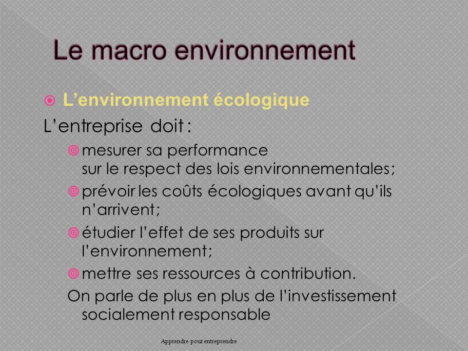 Lenvironnement écologique Lentreprise doit : mesurer sa performance sur le respect des lois environnementales ; prévoir les coûts écologiques avant quils narrivent ; étudier leffet de ses produits sur lenvironnement ; mettre ses ressources à contribution.