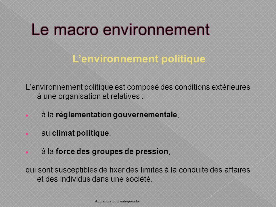 Lenvironnement politique Lenvironnement politique est composé des conditions extérieures à une organisation et relatives : à la réglementation gouvernementale, au climat politique, à la force des groupes de pression, qui sont susceptibles de fixer des limites à la conduite des affaires et des individus dans une société.