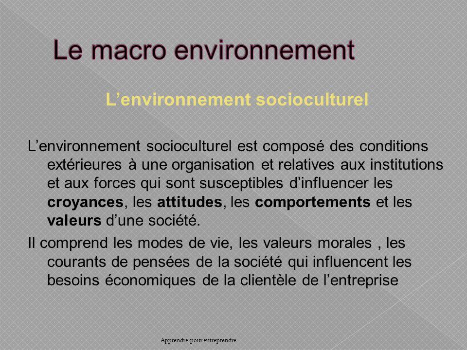 Lenvironnement socioculturel Lenvironnement socioculturel est composé des conditions extérieures à une organisation et relatives aux institutions et aux forces qui sont susceptibles dinfluencer les croyances, les attitudes, les comportements et les valeurs dune société.