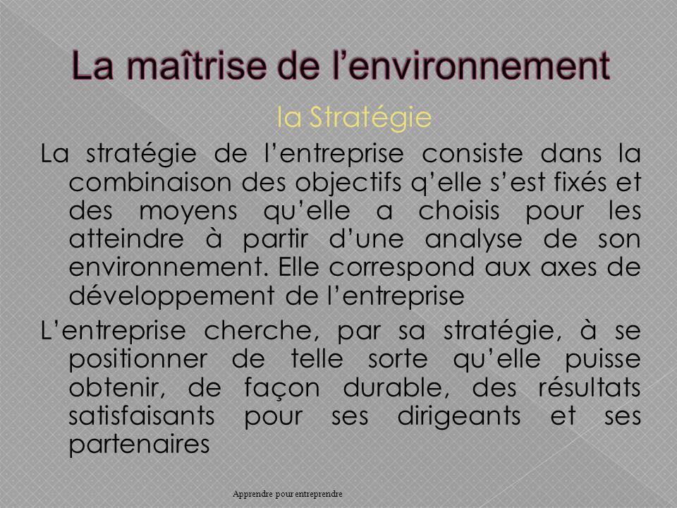 la Stratégie La stratégie de lentreprise consiste dans la combinaison des objectifs qelle sest fixés et des moyens quelle a choisis pour les atteindre à partir dune analyse de son environnement.
