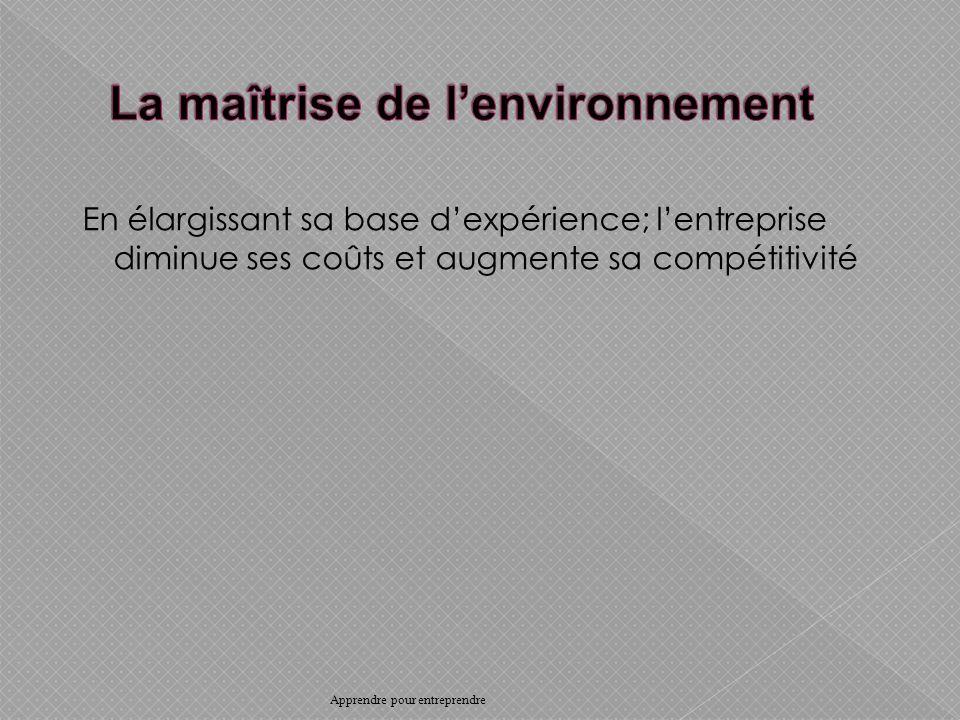En élargissant sa base dexpérience; lentreprise diminue ses coûts et augmente sa compétitivité Apprendre pour entreprendre