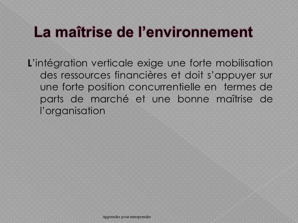 L intégration verticale exige une forte mobilisation des ressources financières et doit sappuyer sur une forte position concurrentielle en termes de parts de marché et une bonne maîtrise de lorganisation Apprendre pour entreprendre