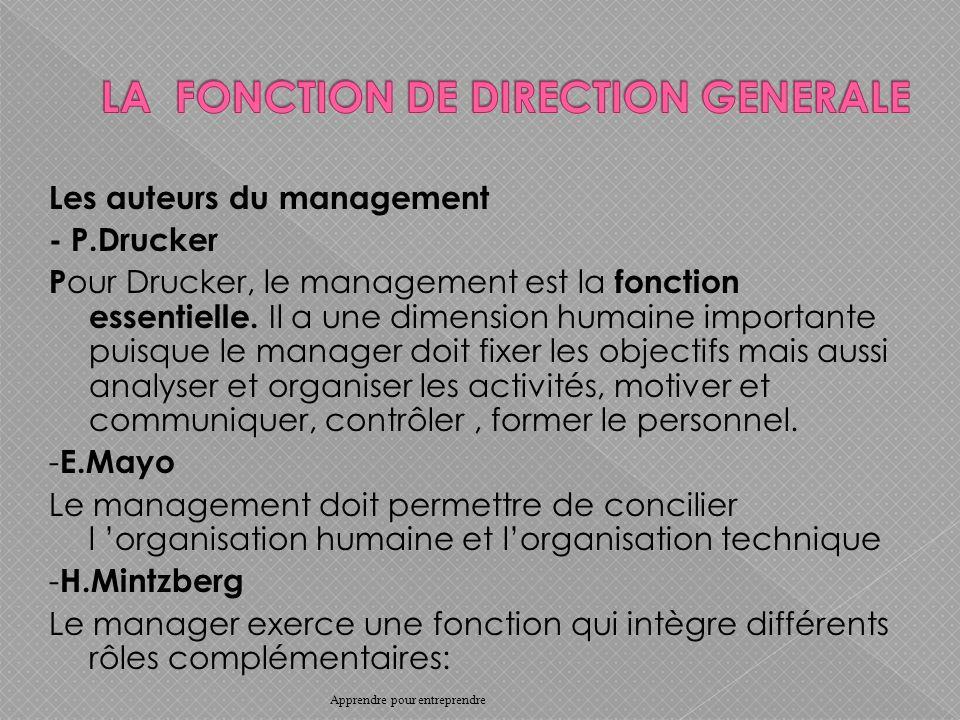 Les auteurs du management - P.Drucker P our Drucker, le management est la fonction essentielle.