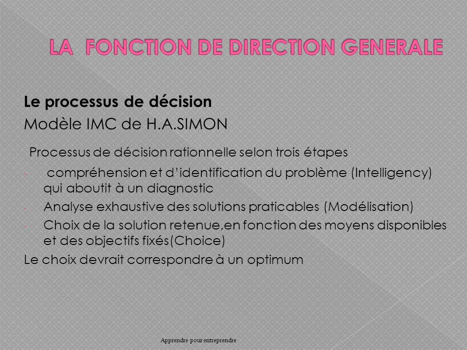Le processus de décision Modèle IMC de H.A.SIMON Processus de décision rationnelle selon trois étapes - compréhension et didentification du problème (Intelligency) qui aboutit à un diagnostic - Analyse exhaustive des solutions praticables (Modélisation) - Choix de la solution retenue,en fonction des moyens disponibles et des objectifs fixés(Choice) Le choix devrait correspondre à un optimum Apprendre pour entreprendre