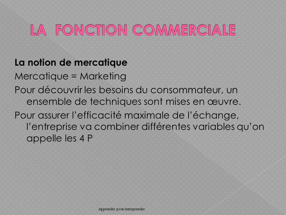 La notion de mercatique Mercatique = Marketing Pour découvrir les besoins du consommateur, un ensemble de techniques sont mises en œuvre.