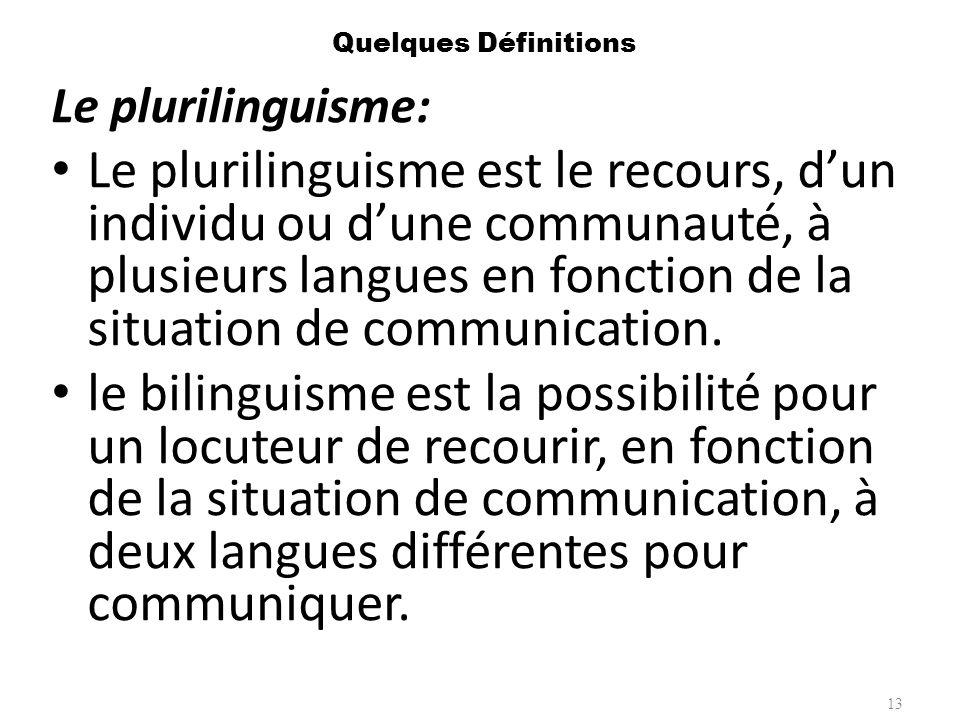 Quelques Définitions Le plurilinguisme: Le plurilinguisme est le recours, dun individu ou dune communauté, à plusieurs langues en fonction de la situa