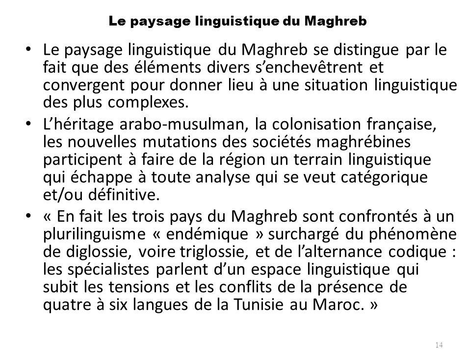 Le paysage linguistique du Maghreb Le paysage linguistique du Maghreb se distingue par le fait que des éléments divers senchevêtrent et convergent pou
